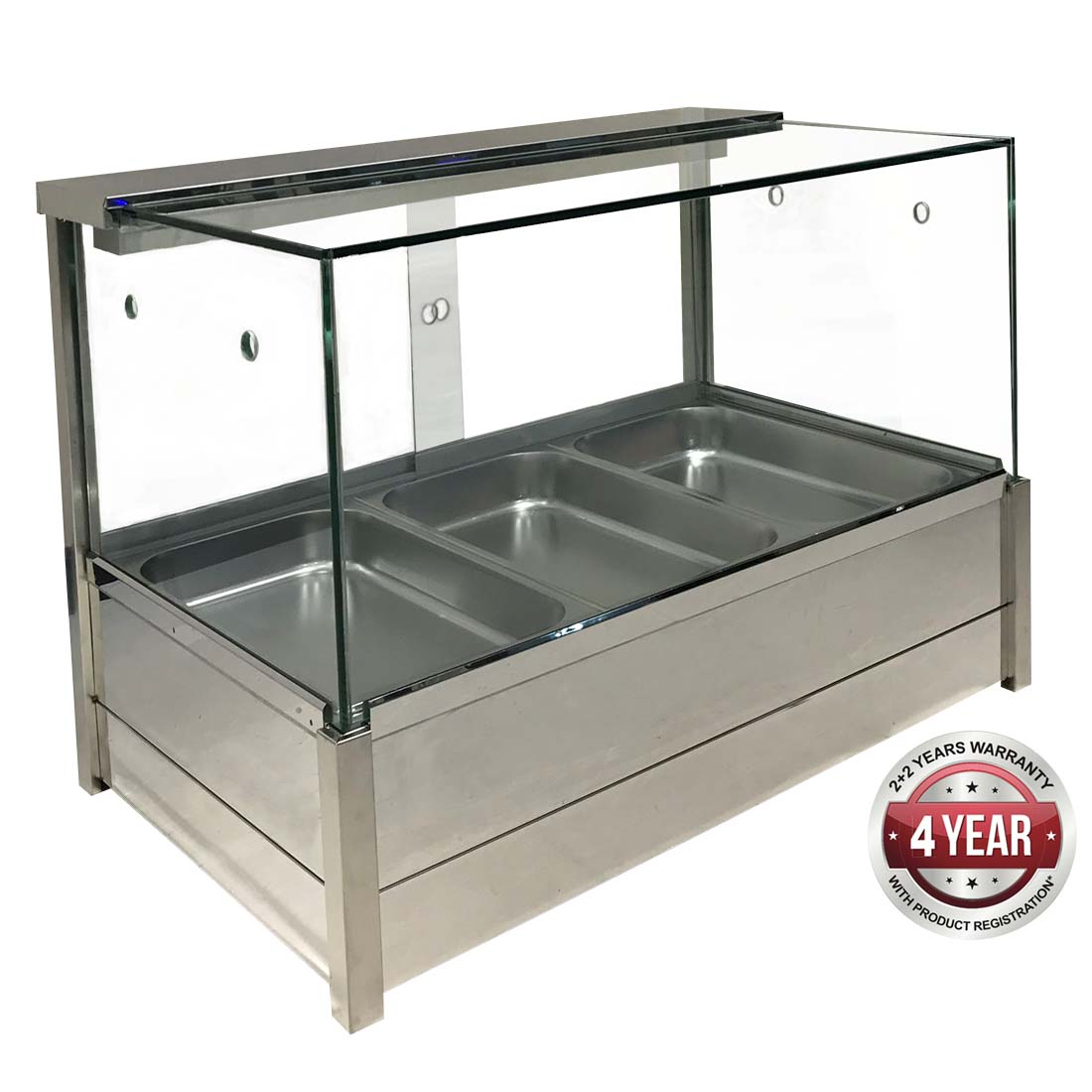 BM11SD Heated Wet 6 x ½ Pan Bain Marie Square Countertop Display