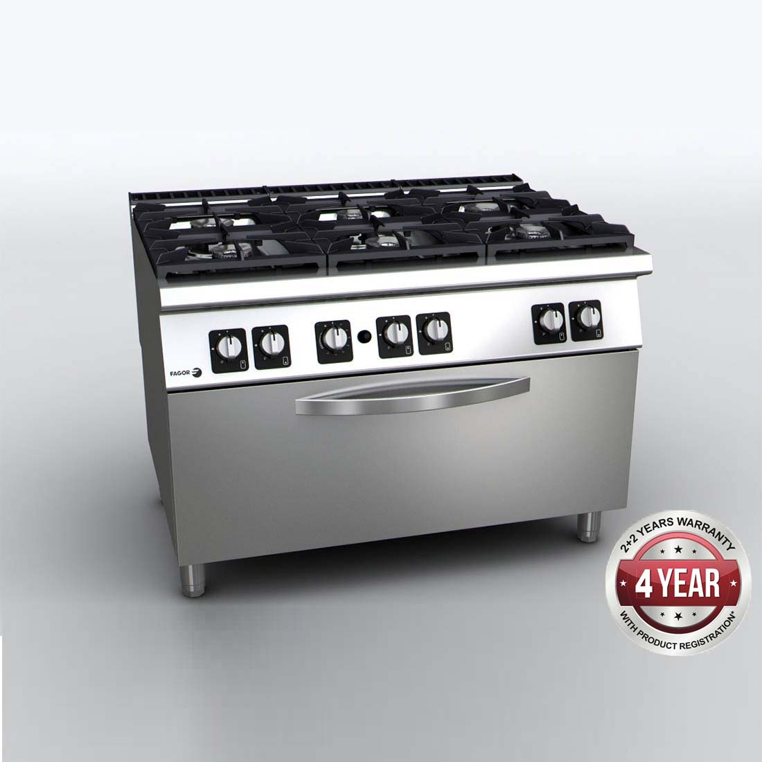 Fagor 900 Series Gas 6 Burner with Gas Oven - C-G961OPH