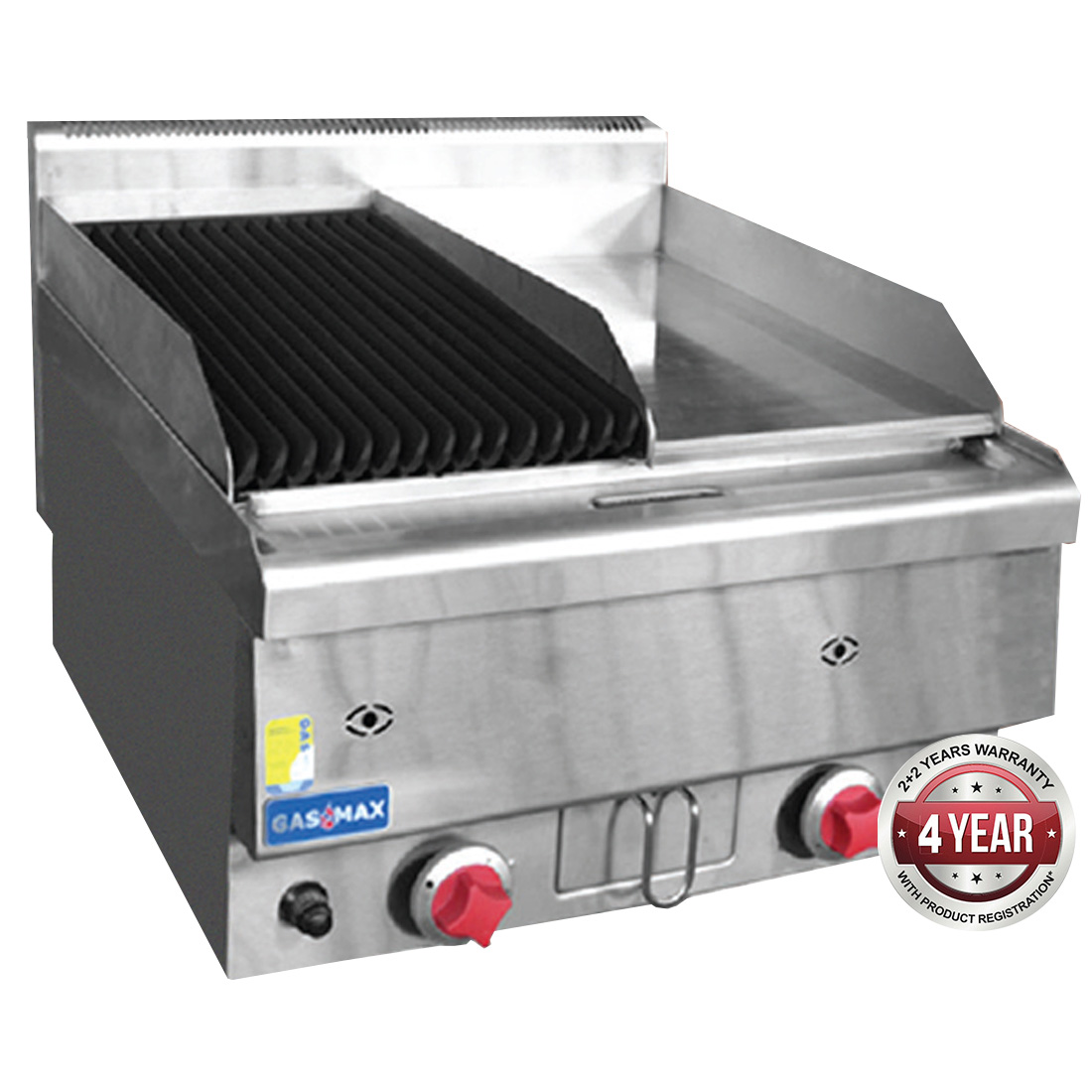 JUS-TRGH60LPG GASMAX Benchtop LPG Gas Combo 1/2 Char & 1/2 Griddle