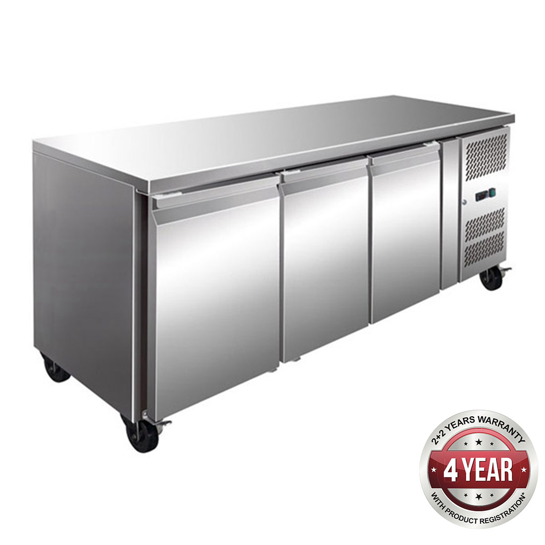 GN3100BT TROPICALISED 3 Door Gastronorm Bench Freezer