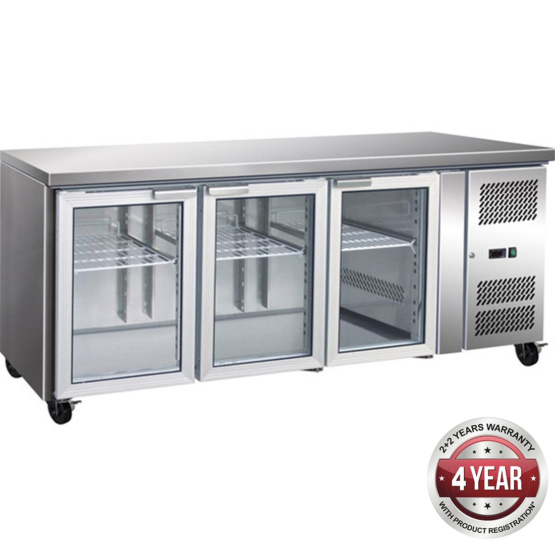 GN3100TNG 3 Glass Door Gastronorm Bench Fridge