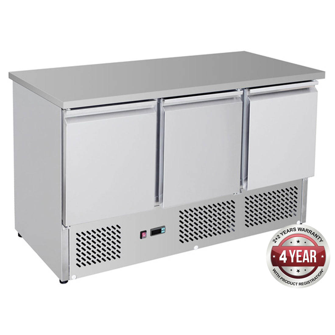 GNS1300B Three Door Compact Workbench Fridge