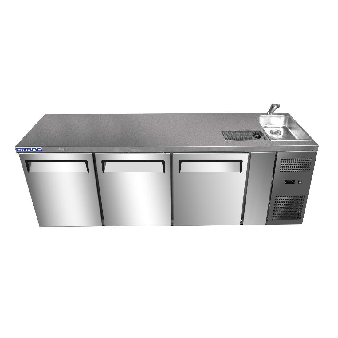 GTR3100BS GRAND True Quality Three Door Work Bench Fridge with Sink