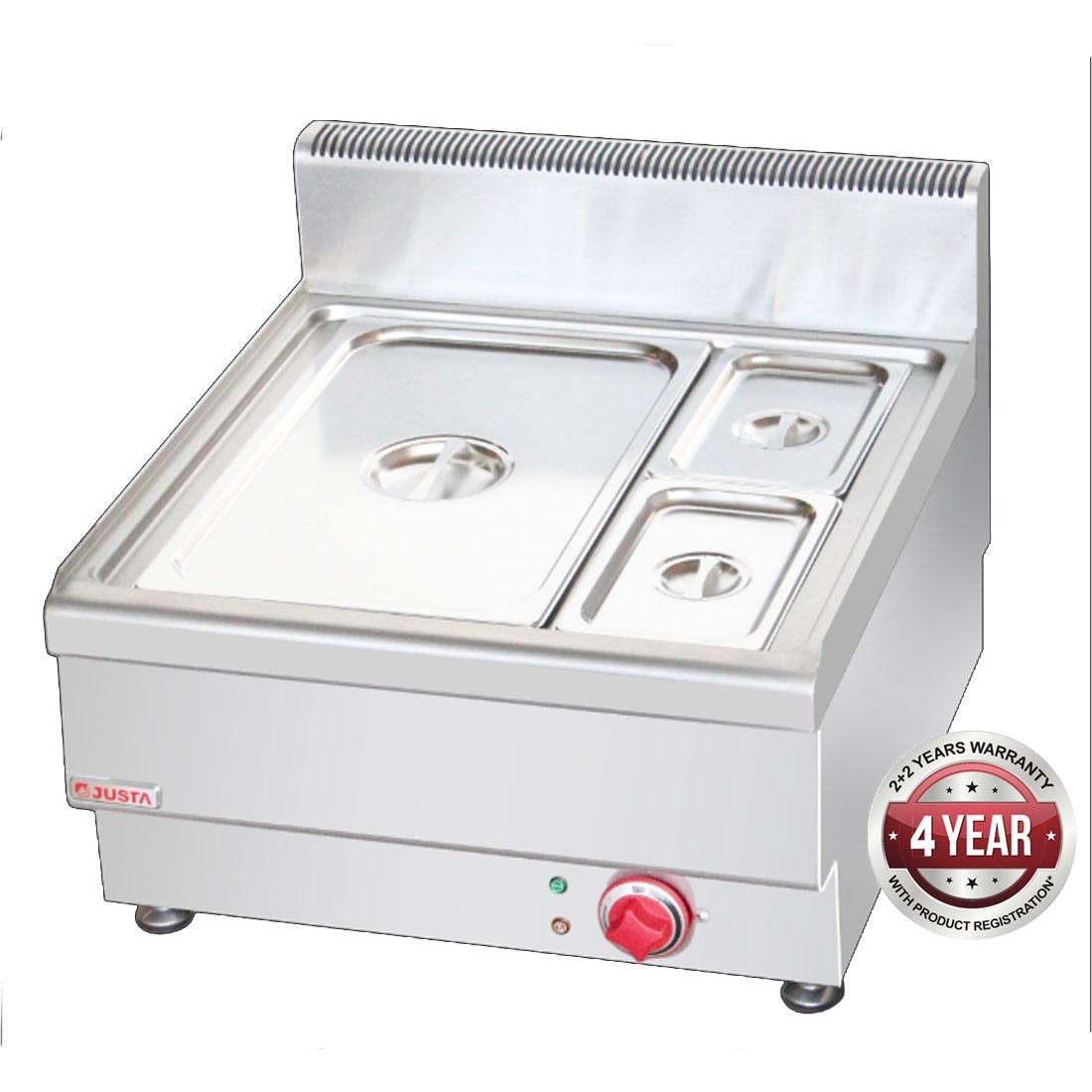 JUS-TY-2 Dry Bain Marie With 1 x 1/1 pan + 2 x ¼  GN Pan & Lid