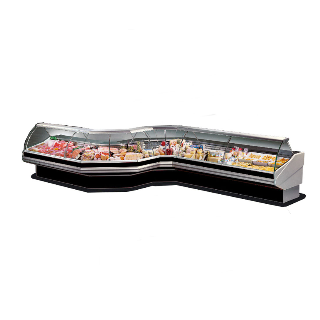 PAN2500 - Curved front glass deli display 2500x1140x1260