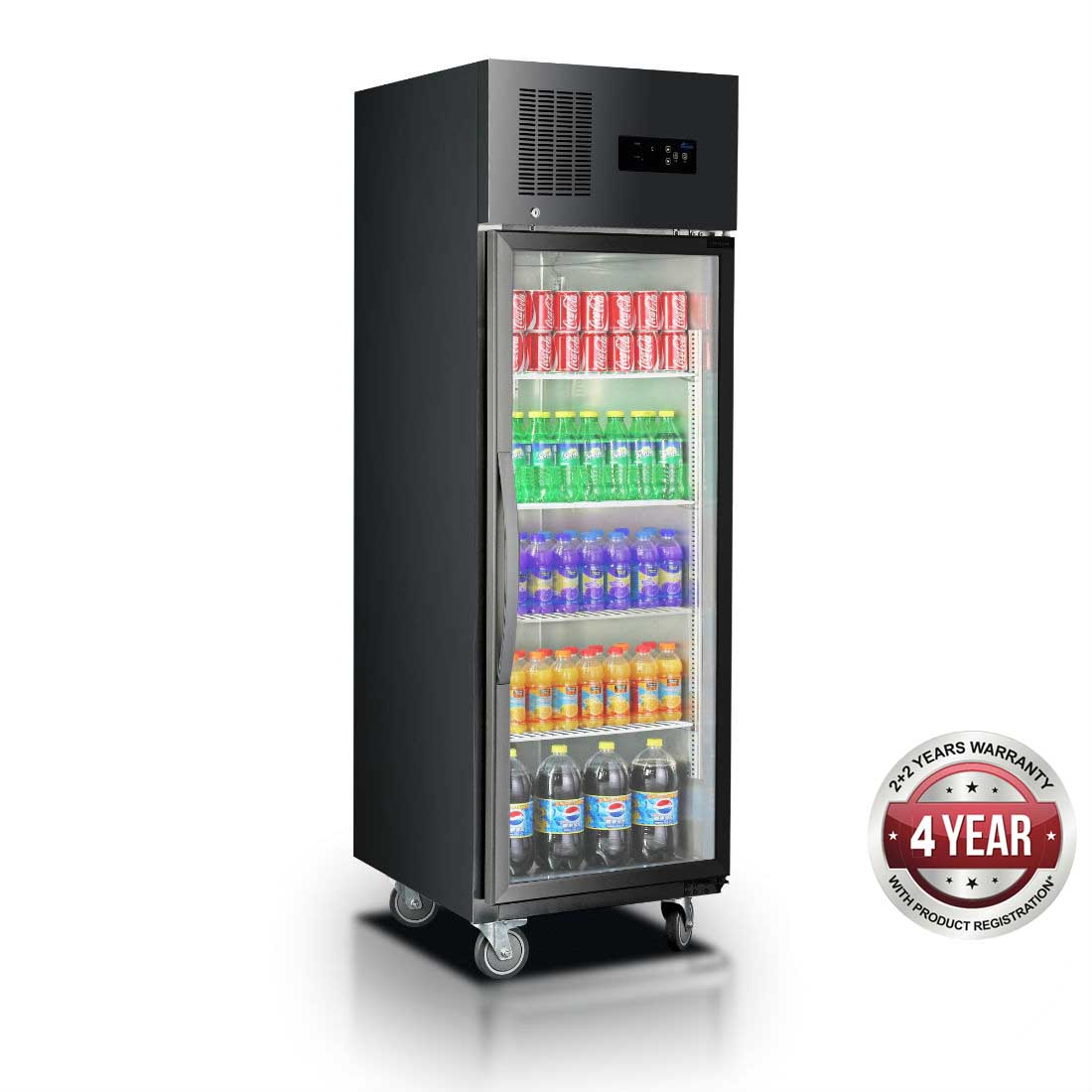 Single Glass Door Upright Fridge Black Stainless Steel - SUCG500B