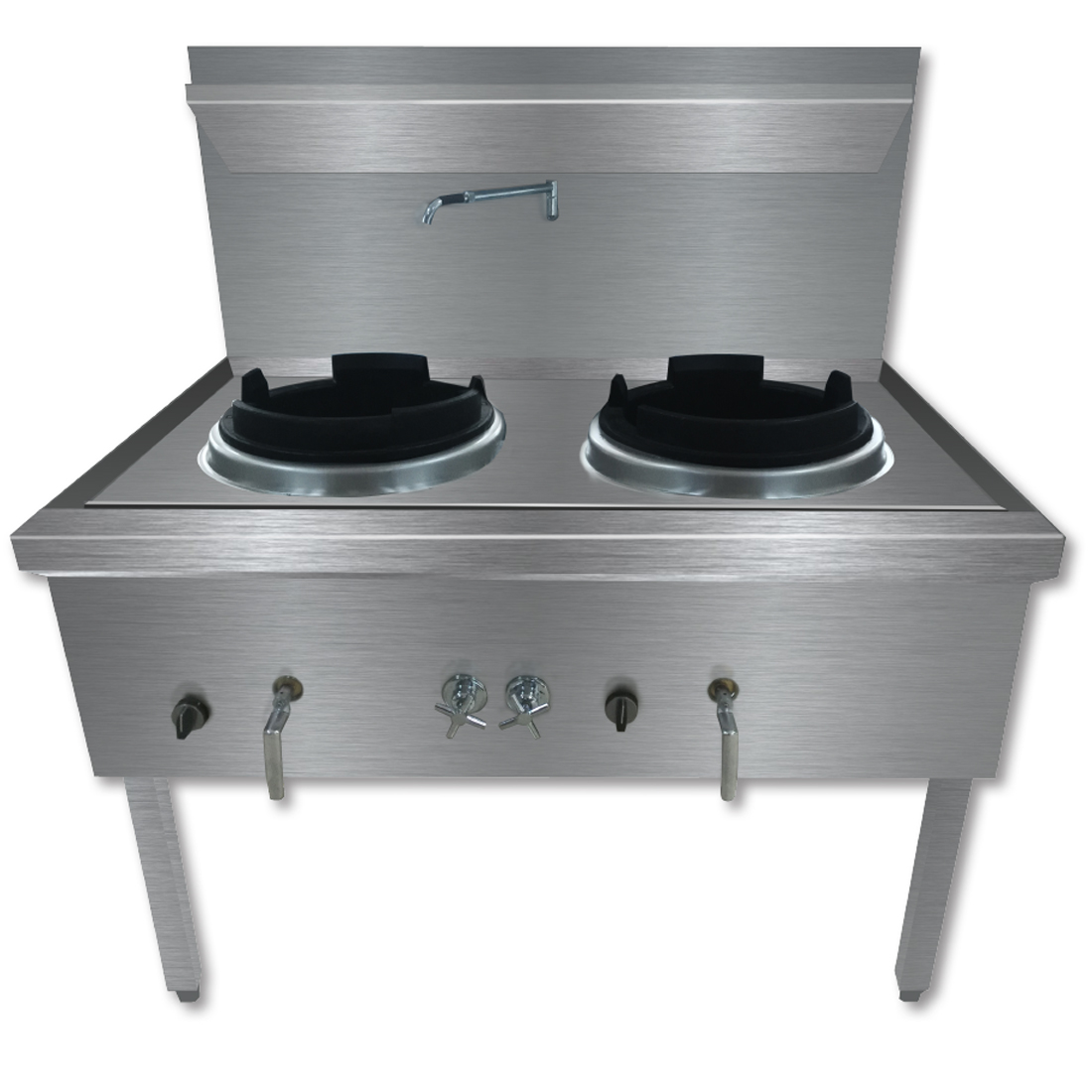 WW-2N Stainless Steel Waterless Nature Gas Double Wok