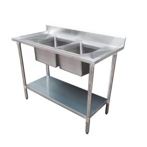 Economic 304 Grade Stainless Steel Double Sink Benches 600mm Deep