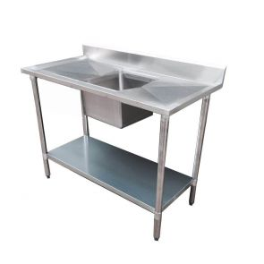 Economic 304 Grade Stainless Steel Single Sink Benches 600 Deep