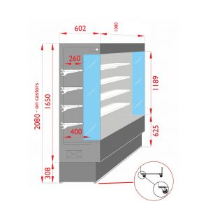 Open Chiller with 4 Shelves - TDVC60-CA-100