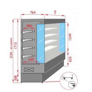 Open Chiller with 4 Shelves - TDVC80-CA-150