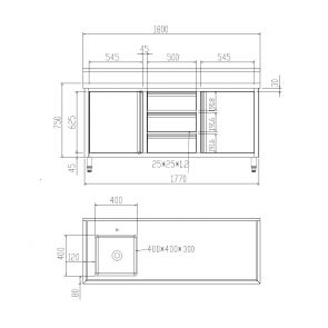 SC-6-1800L-H Cabinet with Left Sink