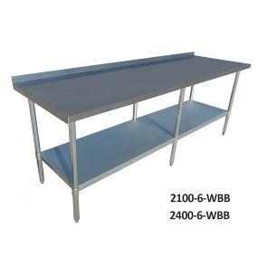 Economic 304 Grade Stainless Steel Tables with Splashback 600 Deep - SSTable6SB-EC