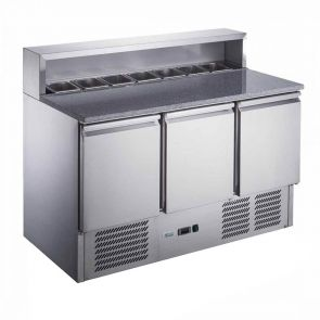 FED-X Three Door Salad Prep Fridge with Marble Top - XGNS1300E