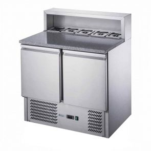 FED-X Two Door Salad Prep Fridge with Marble Top - XGNS900E