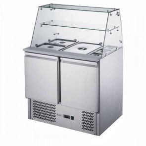 FED-X Two Door Salad Prep Fridge with Square Glass Top - XS900GC