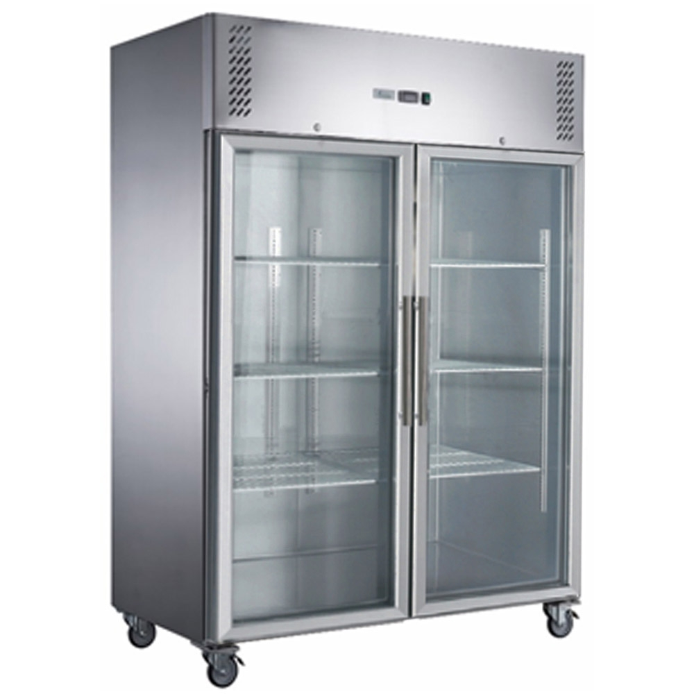 FED-X S/S Two Full Glass Door Upright Freezer - XURF1410G2V