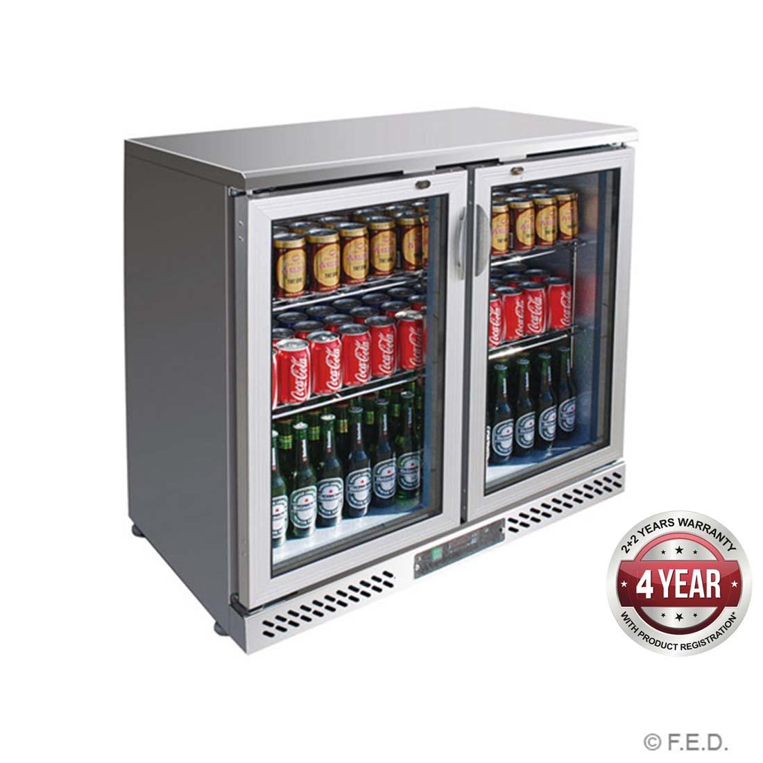 SC248SG Two Door Stainless Steel Bar Cooler