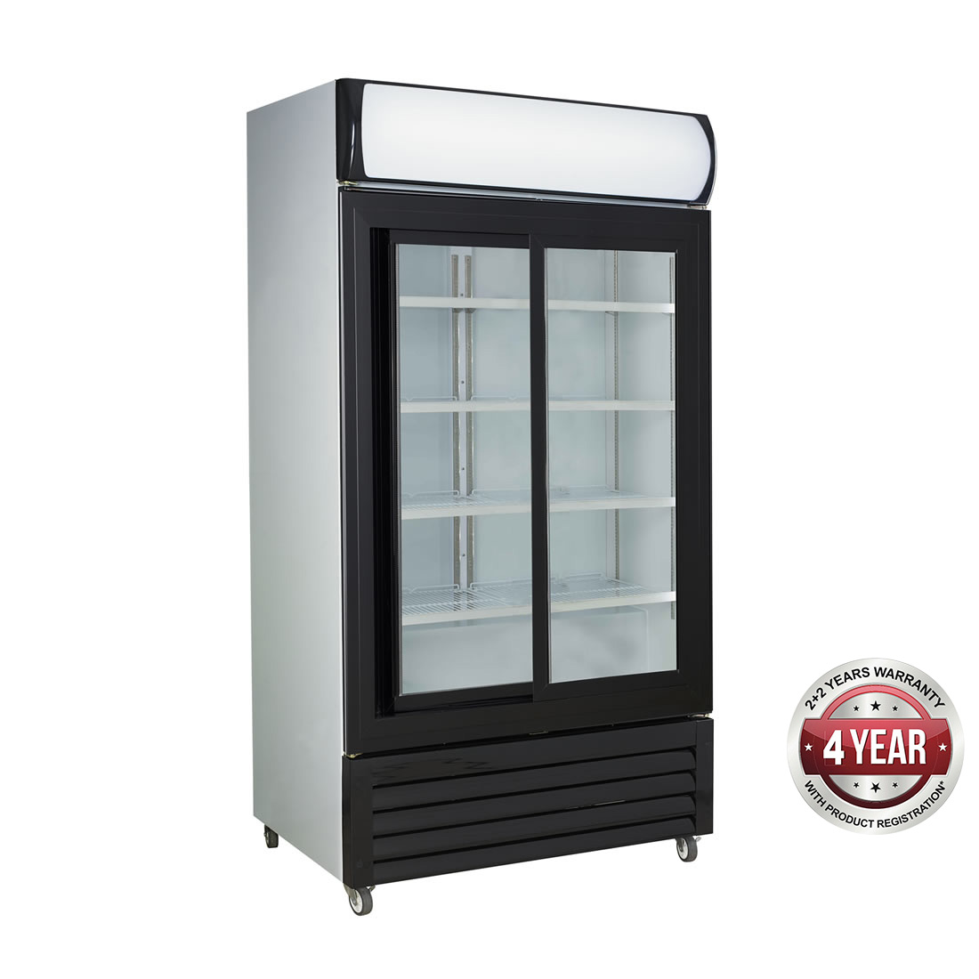 Large Black Sliding Two Glass Door Colourbond Upright Drink Fridge - LG-1000SDBG