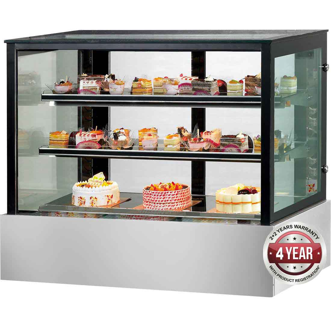 SSU120-2XB Black Trim Square Glass Cake Display 2 Shelves 1200X700X1100