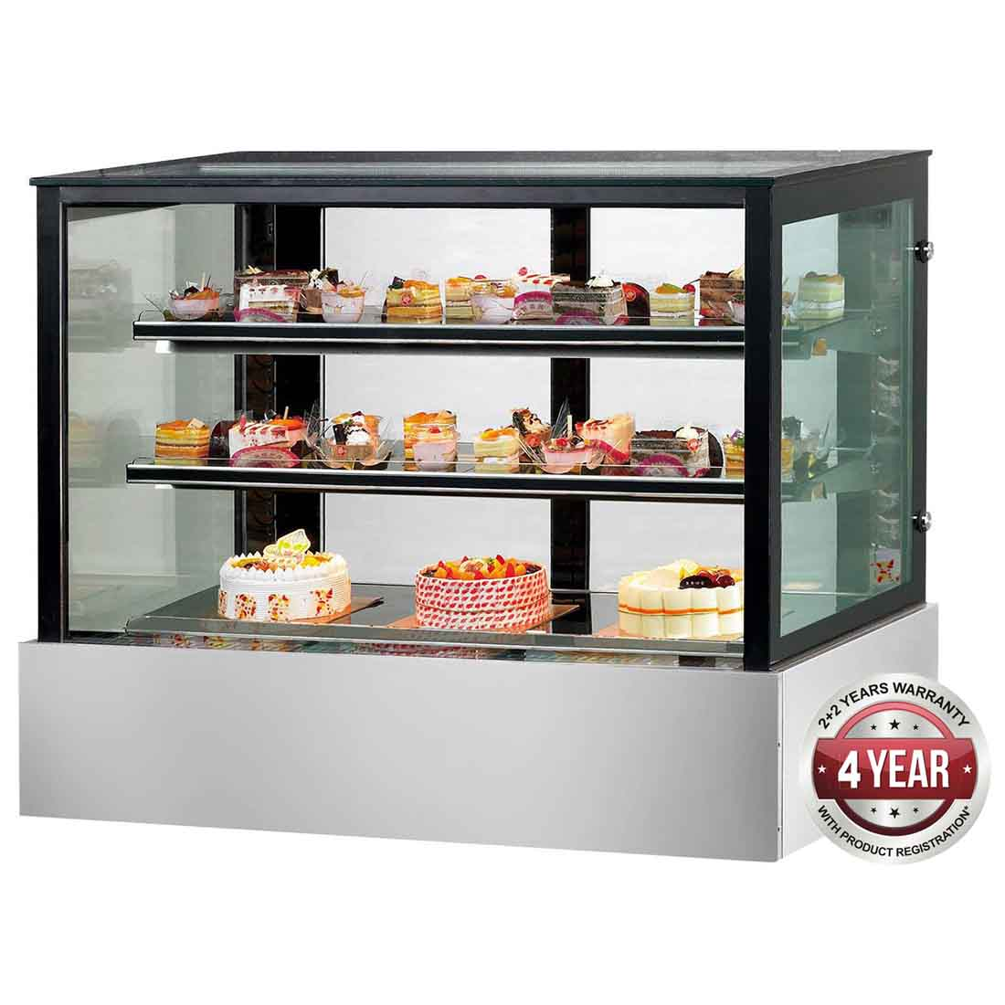 SSU90-2XB Black Trim Square Glass Cake Display 2 Shelves 900x700x1100