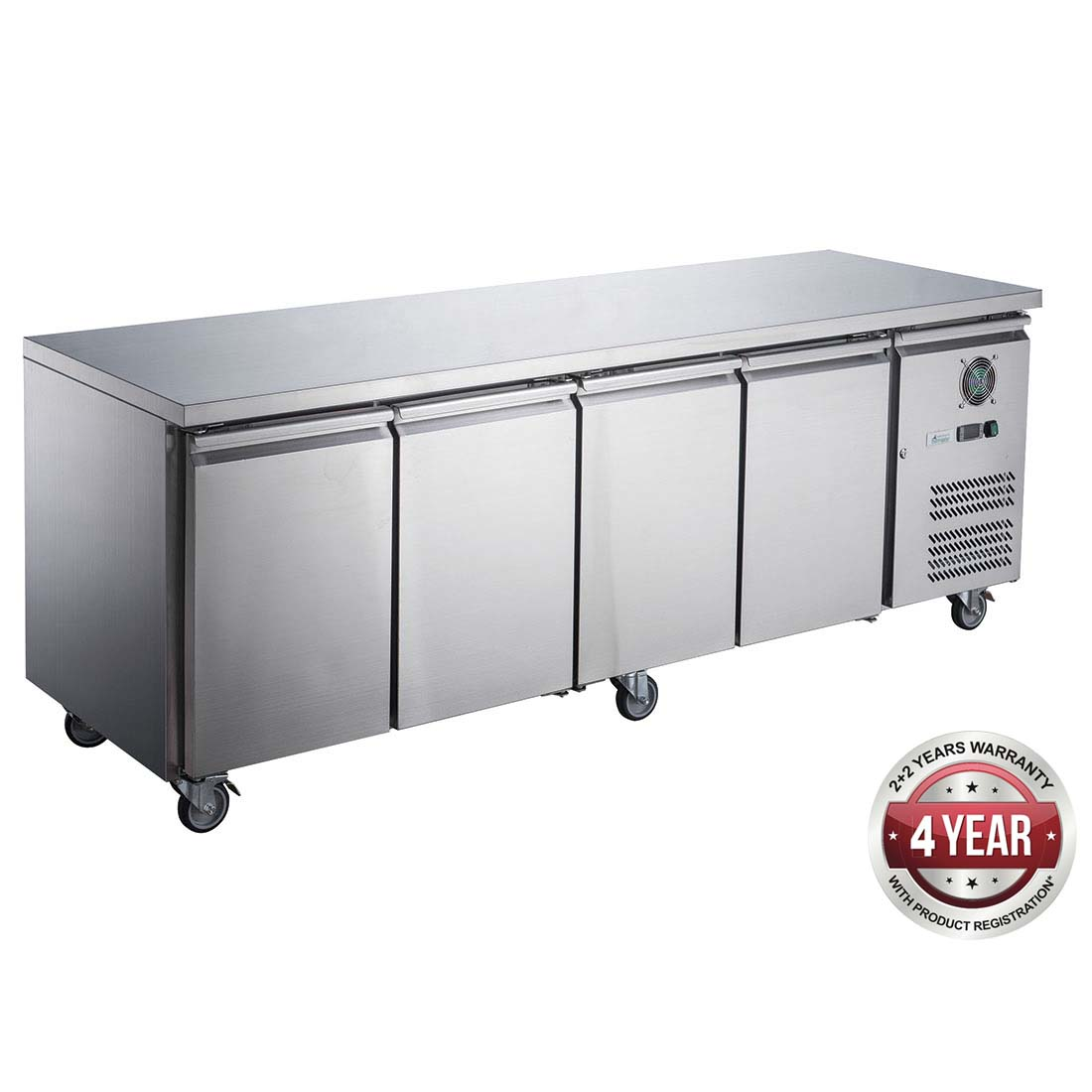 FED-X S/S Four Door Bench Fridge - XUB6C22S4V