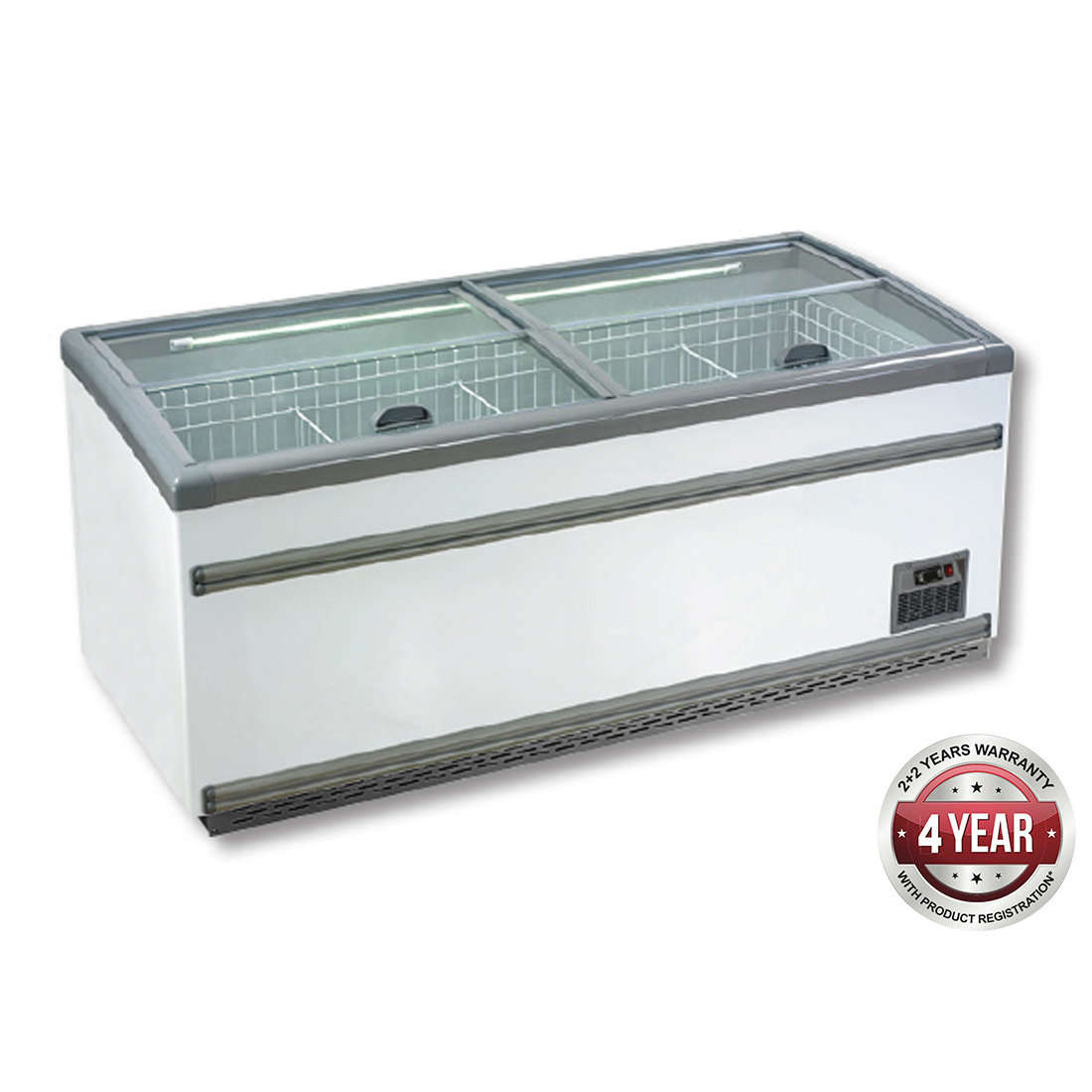 ZCD-L210S Supermarket Island Dual Temperature Freezer & Chiller‌ with Glass Sliding Lids