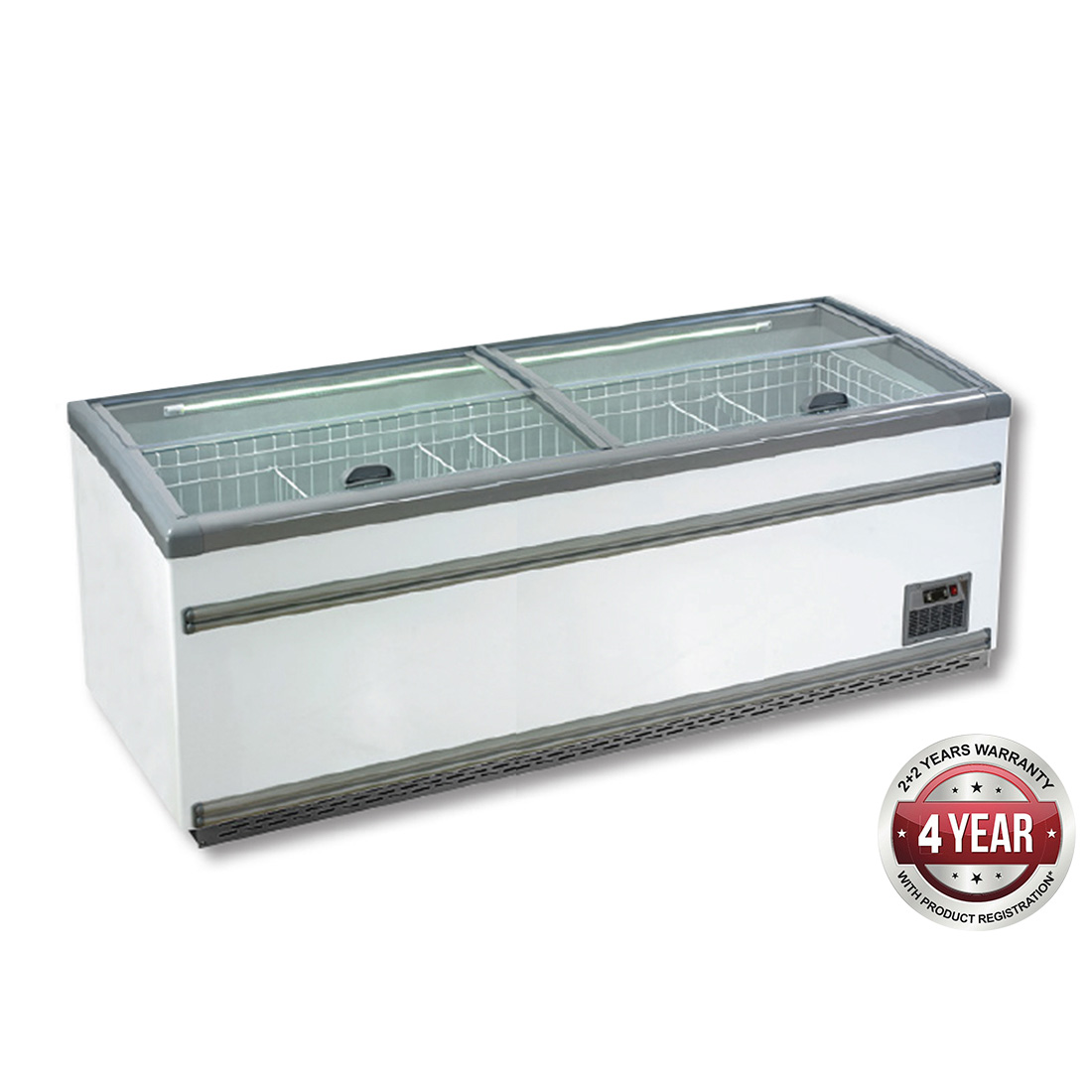 ZCD-L250S Supermarket Island Dual Temperature Freezer & Chiller‌ with Glass Sliding Lids
